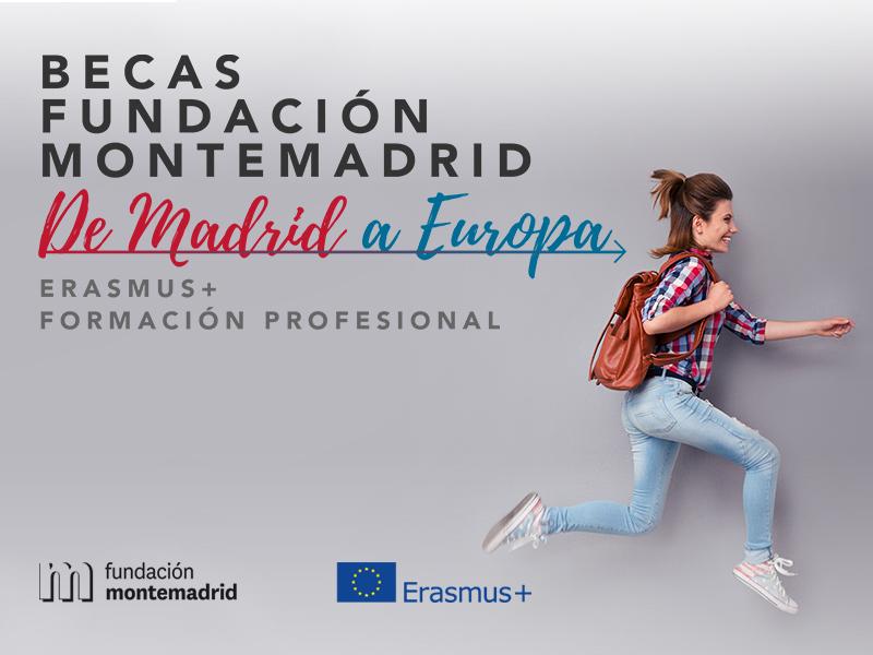 Cartel de Becas Fundación Montemadrid en el que se ve a una chica corriendo feliz con una mochila